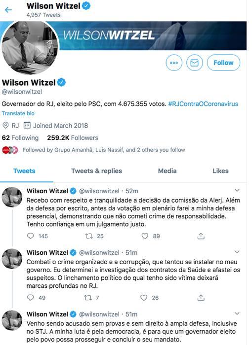 Witzel - Twitter 17 de setembro